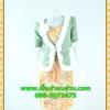 2792ชุดแซกทำงาน เสื้อผ้าคนอ้วนสีเหลืองคลุมด้วยตัวนอกเขียวแต่งระบายปกแขนสไตล์หรูเนี๊ยบ มั่นใจ