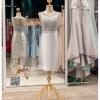 รหัส ชุดราตรี : PFS039 ชุดแซกผ้าลูกไม้งานสวยตกแต่งกริตเตอร์ ชุดราตรีสั้นหรูสีเทาเงิน สวย สง่า ดูดีแบบเจ้าหญิง ใส่เป็นชุดไปงานแต่งงาน งานกาล่าดินเนอร์ งานเลี้ยง งานพรอม งานรับกระบี่
