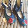 รองเท้าจีน สีฟ้า-ยีนส์ ลายนกยูง