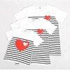 ชุดเด็ก : เสื้อแขนสั้นลายริ้วรูปหัวใจสีขาว แบบแม่