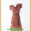 2879เสื้อผ้าคนอ้วน ชุดออกงานคอถ่วงสีน้ำตาลแดงในเนื้อผ้าเนื้อผ้าชีฟองคอถ่วงแขนจีบไหล่ย่นด้านข้าง