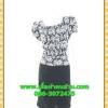 2614เสื้อผ้าคนอ้วน ชุดทำงานลายไทยขาวดำตีเกล็ดหน้าคอกลมแขนคร่อมไหล่แต่งจีบปลายต่อเอวด้วยชิ้นลอยกระโปรงทรงตรงมีซับใน