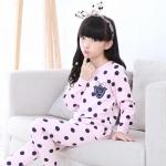 ชุดนอนแขนยาว ลายจุด สีชมพู