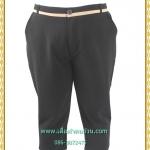 3255กางเกงขายาว5ส่วนแต่งขอบครีมมีกระเป๋ามียางยืดด้านหลังเอว38-42สะโพก40-44