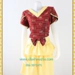 3163เสื้อผ้าคนอ้วนผ้าไทยเนื้อทอ2หน้าซับผ้ากาวอย่างดีสีแดงสลับเหลืองแขนกลีบบัวแต่งโบเอวกระโปรงมีระบาย