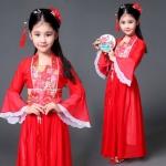 ชุดจีน เดรสยาวแขนระบายขาวสีแดง