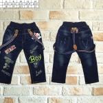 ชุดเด็ก : กางเกงยีนส์ สายเอี้ยม ลายBoy