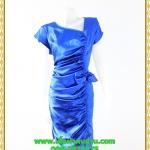 3054เสื้อผ้าคนอ้วน ชุดราตรีออกงานสีน้ำเงินสุดหรูคอวีจับเดรฟสุดปราณีตสวยงามหรูหรา น่าค้นหาเป็นที่สุด สวยและมั่นใจสไตล์ออกงาน