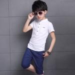 ชุดเซ็ต เสื้อขาว+กางเกงขาสามส่วนสีกรม