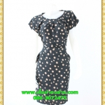 2944เสื้อผ้าคนอ้วน ชุดทำงานสไตล์แขนล้ำสวยมั่นใจแบบสาวอวบโมเดิร์นล้ำ สีดำลายจุดเล็กสุดคลาสสิคได้ทุกงาน