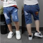 ชุดเด็ก : กางเกงยีนส์ สามส่วน ซุปเปอร์แมน