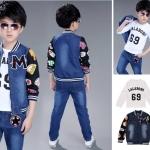 ชุดเด็ก : เสื้อเซ็ตเสื้อแขนยาวสีขาว+เสื้อคลุม+กางเกงขายาว