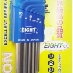 EIGHT LHS-9D ชุดประแจหกเหลี่ยมยาว หัวเรียบตรง 9ตัวชุด ( 1.5-10 มม.) จากญี่ปุ่นแท้
