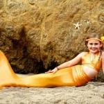 ชุดว่ายน้ำ หางนางเงือก เซ็ต 3 ชิ้น รุ่นหางปิด สีทอง เซ็ต 3 ชิ้น เสื้อ+กางเกงเอวผูก+หางนางเงือก