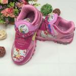 รองเท้าผ้าใบเด็ก คิตตี้สีชมพูอ่อนมีไฟ แบบที่1