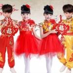ชุดจีน ชุดจีนส์สไตล์แดนซ์เด็กผู้ชายสีเหลือง-สีแดง