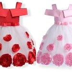 ชุดเด็ก : เดรสออกงาน สีชมพูแต่งลูกไม้กุหลาบ สีชมพู,แดง