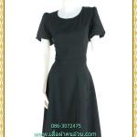 3229เสื้อผ้าคนอ้วนสีดำคอกลมแขนสโนว์ไวท์ กระโปรงย้วยสวยสง่าสไตล์เจ้าหญิง ทรงสุภาพความยาวคลุมเข่า