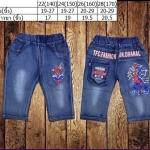 ชุดเด็ก : กางเกงยีนส์นิ่ม สี่ส่วน ลายสไปเดอร์แมน