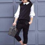 ชุดเสื้อสีขาว+กางเกงสามส่วน