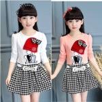 ชุดเด็ก : เดรสแขนยาว ปักตุ๊กตา +เข็มขัด ,สีขาว ,สีชมพู