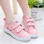 รองเท้าผ้าใบ แมว สีชมพู