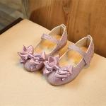 รองเท้าคัชชู ผูกโบว์ สีม่วงกากเพชร