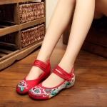 รองเท้าจีน ลายดอกไม้ สีแดง-ครีมข้อคู่ ไซส์ใหญ่