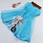ชุดเด็ก : เดรสเจ้าหญิงโฟเซ่นสีฟ้า แขนตุ๊กตา