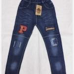 กางเกงยีนส์ขายาวปักตัวP