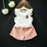 ชุดเด็ก ชุดเสื้อสีขาว+กางเกงขาสั้นสีชมพู