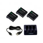 Smatree Charger 3 Channel พร้อม Battery 3 ก้อน สำหรับ GoPro Hero4