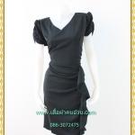 3221ชุดแซคคนอ้วนสีดำ ผ้าซาร่าคอวีหน้าหลังแขนย่นข้างแต่งชิ้นระบายกระโปรงด้านข้างหรูสไตล์เนี๊ยบ