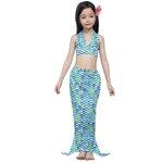 ชุดว่ายน้ำเด็ก: ชุดว่ายน้ำหางนางเงือก สีฟ้าเกร็ด เอวผูก