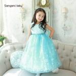 ชุดเด็ก : เดรส Frozen แขนกุด สีฟ้า ทรงฟู