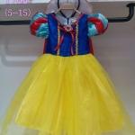 ชุดเด็ก : เดรสเจ้าหญิงสโนไวท์ ทรงยาวสีเหลืองคอปก+ผ้าคลุมสีแดง