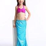 ชุดว่ายน้ำ เซ็ตหางนางเงือก 3 ชิ้น เสื้อผูกคอ+กางเกง+กระโปรงหางเงือก สีฟ้า
