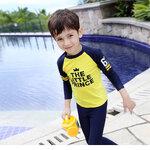 ชุดว่ายน้ำ เซ็ตเสื้อ+กางเกงสีเหลือง-กรม