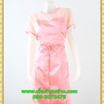 3086เสื้อผ้าคนอ้วน ชุดสีชมพูสไตล์ออกงานคอกลมปูลูกไม้โปร่งบริเวณคอลายดอกหวานแต่งแขนโปร่งสไตล์หรูหวานซ่อนเปรี้ยว