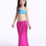 ชุดว่ายน้ำ นางนางเงือก เซ็ต 3 ชิ้น รุ่นเสื้อผูกอก สีชมพู-ฟ้า สำเนา