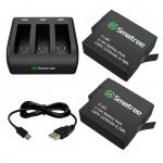 แบตเตอรี่ Smatree Replacement battery (2-Pack) for GoPro Hero 5 and 3-Channel charger Kit
