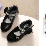 รองเท้าคัชชูหนังแก้ว ติดกุหลาบ สีดำ