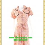 2938เสื้อผ้าคนอ้วน ชุดทำงานสีส้มลายกนกปกฮาวายตัดขอบดำเบรคลายสไตล์หวาน