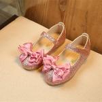 รองเท้าคัชชู ผูกโบว์ กากเพชร สีชมพู