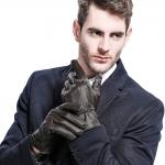 ถุงมือกันหนาว ถุงมือหนังบุขนแคชเมียร์ ผู้ชาย มี 2 สี ดำ / น้ำตาล
