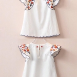ชุดเด็ก : เสื้อปักดอกไม้สีขาว
