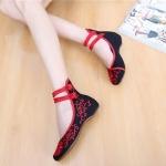 รองเท้าจีน ลายแดงสีดำคาดข้อเท้า ไซส์ใหญ่