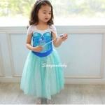 ชุดเด็ก : ชุดเด็ก : เดรสเจ้าหญิง Frozen แขนไขว้ สีขาว กระโปรงฟ้า