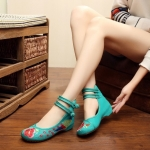 รองเท้าจีน รัดข้อคู่ สีเขียว ไซส์ใหญ่