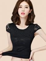 เสื้อยืดแฟชั่นสีดำคอกลม แขนเต่อใส่สบายด้วยเนื้อผ้าชีฟอง-1496